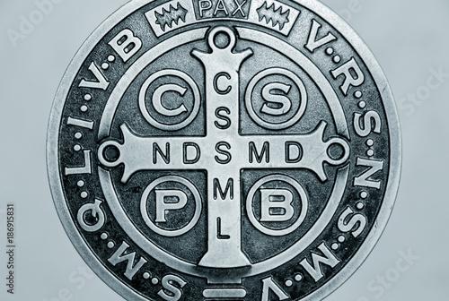 Saint Benedict medal symbol Canvas Print