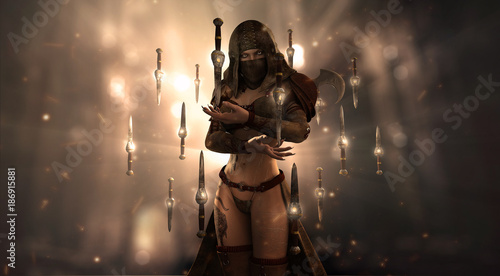 female assassin character surrounded in floating knives Wallpaper Mural