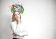 Dreamy blonde businesswoman, cog brain
