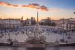 Rome (Italy) - The historic center of Rome. Here in particular the Piazza del Popolo square at sunset, from Terrazza del Pincio