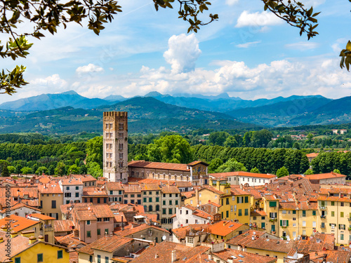 Fototapety, obrazy: Lucca Italy landscape travel rooftops with mountains in background