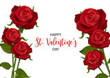 Realistic red rose St Valentine's day card. Love flower bouquet Valentines banner frame. Beautiful holiday blossom invitation. Vector colored illustration. Spring summer wedding background