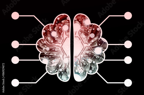Photo  Neuromorphing Chip - Futuristic Biochip - Abstract Illustration