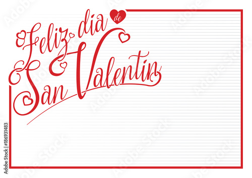 White Card With Red Border With The Message Feliz Dia De San