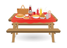 Picnic Wood Table With Fast Fo...