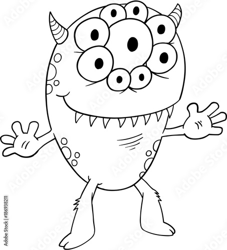 Photo sur Toile Cartoon draw Cute Silly Monster Alien Vector Illustration Art