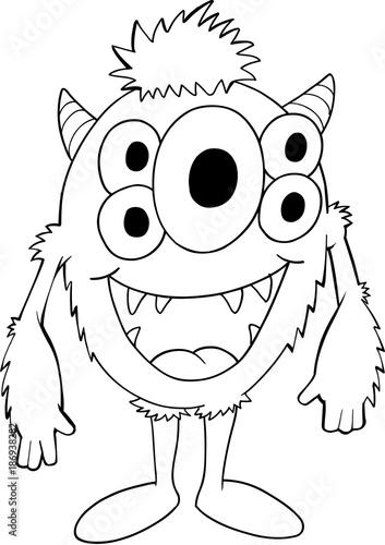 Papiers peints Cartoon draw Cute Silly Monster Alien Vector Illustration Art