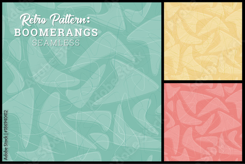 Retro Boomerang Seamless Pattern 3 retro colors Canvas Print