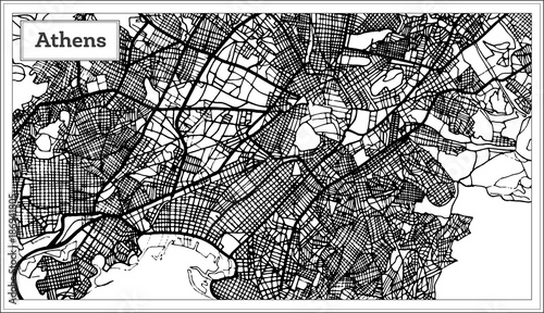 Photo Athens Greece Map in Black and White Color.