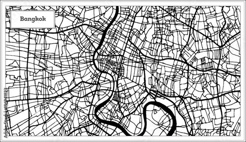 Obraz na plátně Bangkok Thailand City Map in Black and White Color.