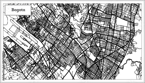 Photo Bogota Colombia City Map in Black and White Color.