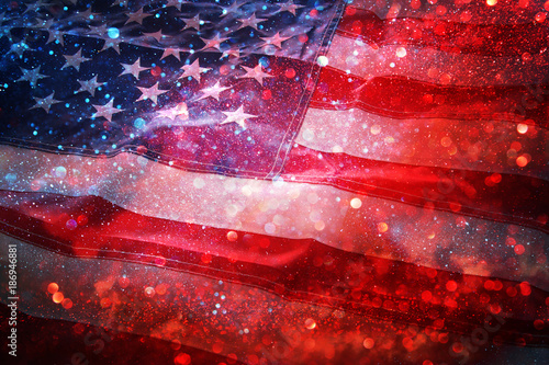 American flag and bokeh background with copy space for american celebration Fototapete