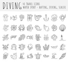 Diving Vector Hand Draw Icon Set. Diving Equipment, Sealife, Sea Attributes In One Lined Doodle Icon Collection. Crab, Seashell, Perl, Oxygen Equipments For Divers On One Icon Set.