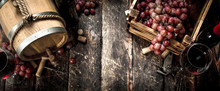 Wine Background. A Barrel With...