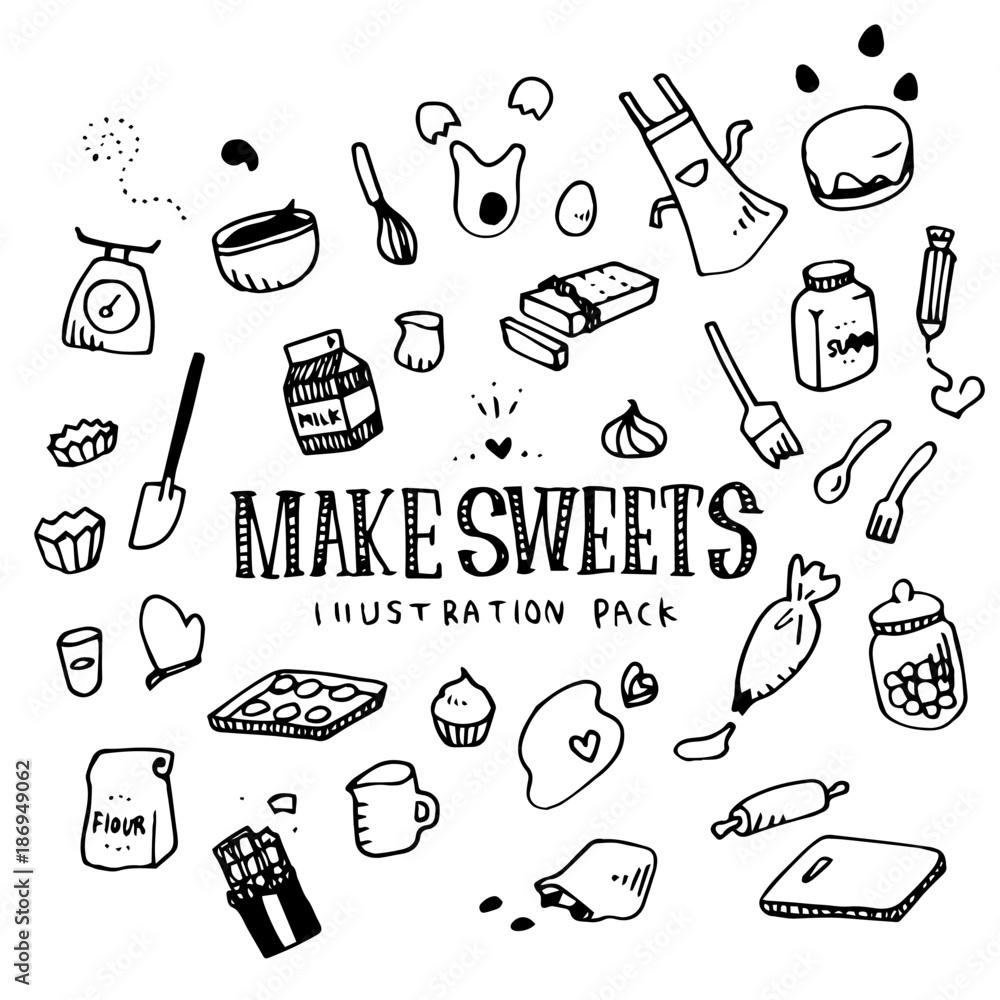 Fototapeta Make Sweets Illustration Pack