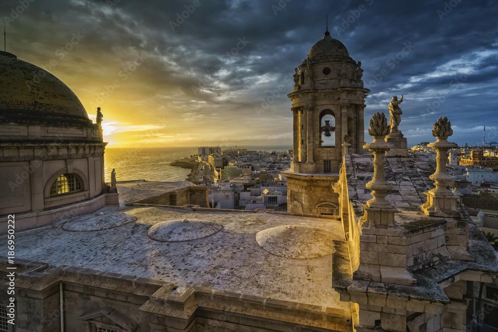 Fototapety, obrazy: Sunset Over Cathedral Cadiz Spain