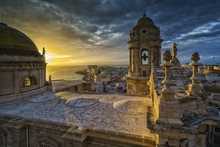 Sunset Over Cathedral Cadiz Spain