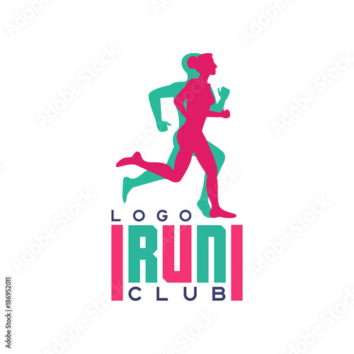 Run club logo, emblem with abstract running people silhouettes, label for sports Fototapeta