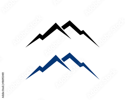 Black and Blue Simple Line Art Mountain Symbol Vector Modern Logo