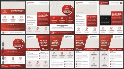 A Bundle Of 10 Templates Of Corporate A4 Flyer Template Modern