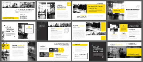 Fototapeta Yellow presentation templates and infographics elements background. Use for business annual report, flyer, corporate marketing, leaflet, advertising, brochure, modern style. obraz na płótnie