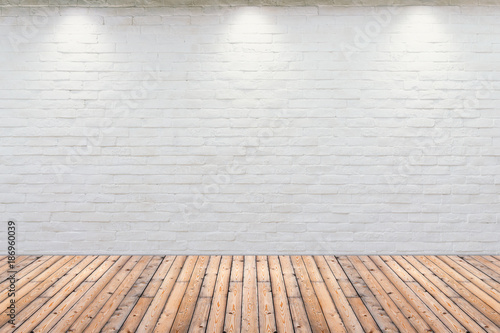 Papiers peints Con. ancienne Room interior vintage with white brick wall and wood floor