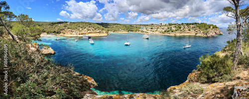 Spain, Mallorca, panoramic view of Portals Vells bay