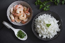 Bowls Of Long Grain Rice With ...