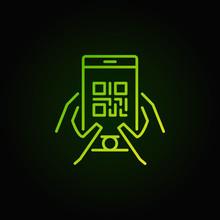 QR Code In Smartphone Green Ve...
