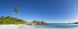 Seychelles, La Digue, Indian Ocean, Anse Cocos, Panoramic view of beach