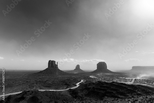 USA, Utah, Monument Valley during a sand storm