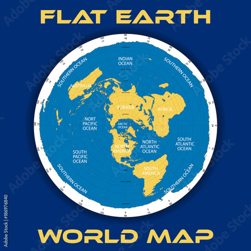 Schematic vector map of the theory of a flat earth   Buy this