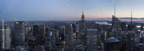 USA, New York State, New York City, Manhattan, Skyline at sunset - 186977002