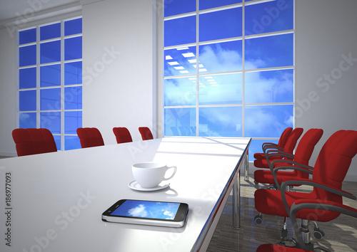 3D Illustration, cloud computing, smartphone on conference table
