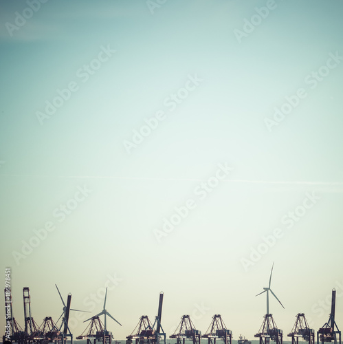 Germany, Hamburg, Harbour, cranes and wind wheels, copy space Poster
