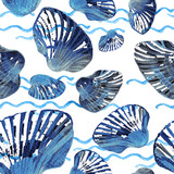 Watercolor seamless pattern of sea shells.