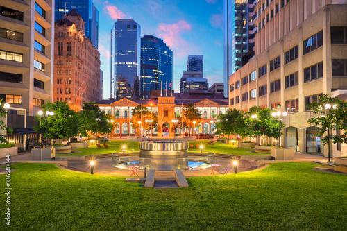 Poster Océanie Brisbane. Cityscape image of Civic Square in Brisbane downtown, Australia during sunrise.