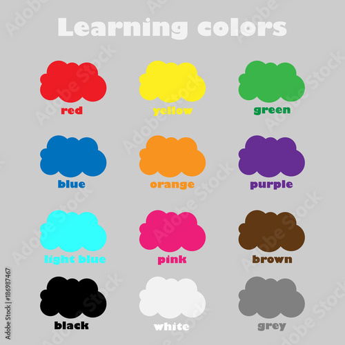 Learning colors for children, fun education game for kids, colorful clouds, preschool worksheet activity, vector illustration