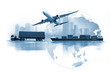 canvas print picture - Transportation, import-export and logistics concept, container truck, ship in port and freight cargo plane in transport and import-export commercial logistic, shipping business industry