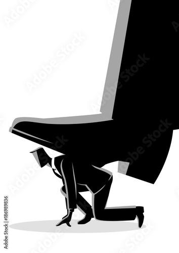 Fototapeta Giant foot trampling a businessman obraz