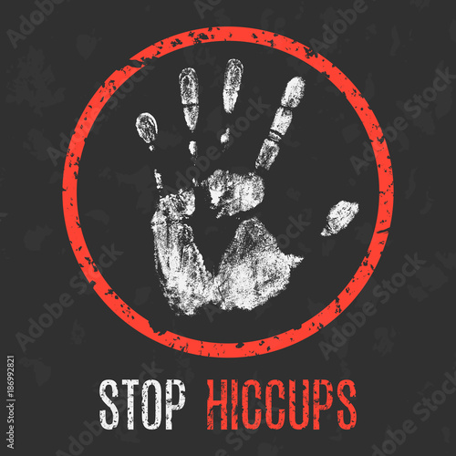 Photo  Vector illustration. Human sickness. Stop hiccups.