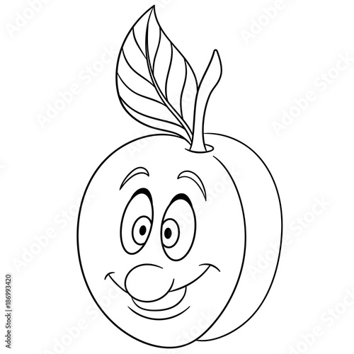 Coloring book. Coloring page. Cartoon Apricot character ...