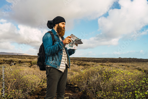 Tourist man with map