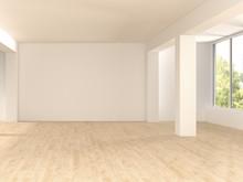 Empty Spacious Room With Wooden Floor, D Rendering