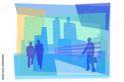 Hommes d'affaires marchant dans la Cité Canvas Print