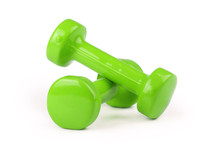 Two Green Dumbbells Isolated O...