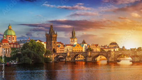 Poster Praag Famous iconic image of Charles bridge, Prague, Czech Republic. Concept of world travel, sightseeing and tourism.