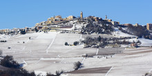 View Of Langhe Vineyards Hills With Snow And The Village Of La Morra Piedmont Italy