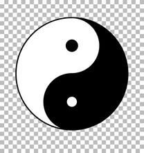 Yin Yang On Transparent Background. Yin Yang Sign. Flat Style.
