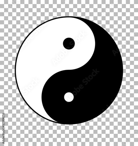yin yang on transparent background. yin yang sign. flat style. Billede på lærred